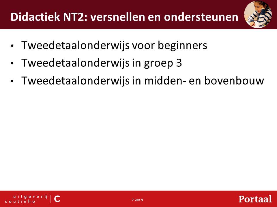 7 van 9 Didactiek NT2: versnellen en ondersteunen Tweedetaalonderwijs voor beginners Tweedetaalonderwijs in groep 3 Tweedetaalonderwijs in midden- en bovenbouw