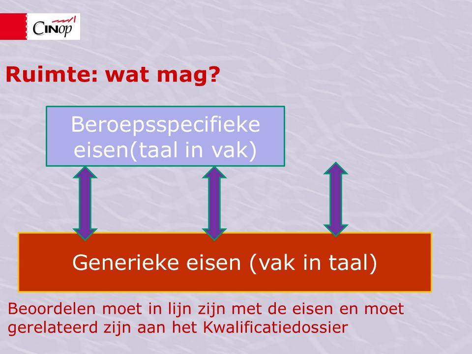 Beroepsspecifieke eisen(taal in vak) Generieke eisen (vak in taal) Ruimte: wat mag.