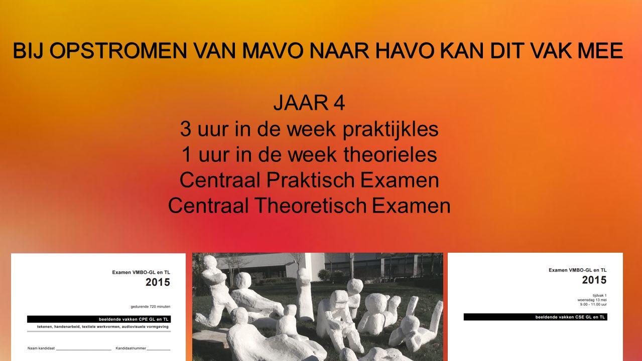 JAAR 4 3 uur in de week praktijkles 1 uur in de week theorieles Centraal Praktisch Examen Centraal Theoretisch Examen BIJ OPSTROMEN VAN MAVO NAAR HAVO KAN DIT VAK MEE