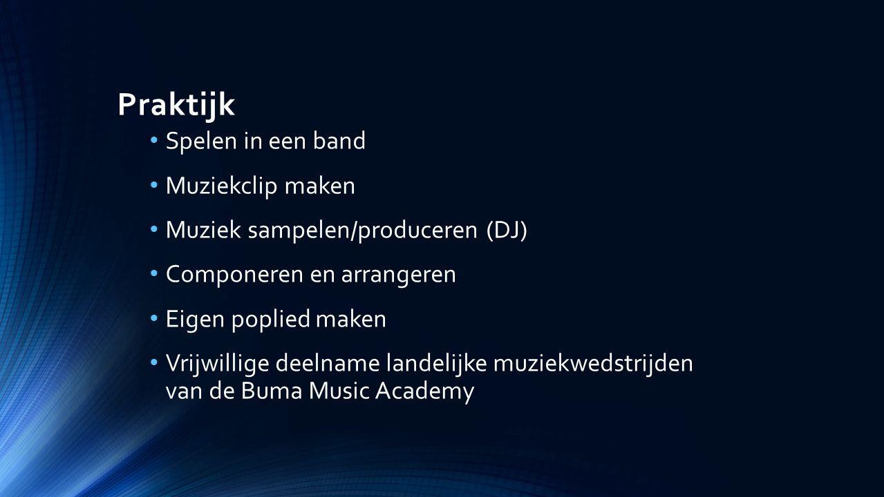 Praktijk Spelen in een band Muziekclip maken Muziek sampelen/produceren (DJ) Componeren en arrangeren Eigen poplied maken Vrijwillige deelname landelijke muziekwedstrijden van de Buma Music Academy