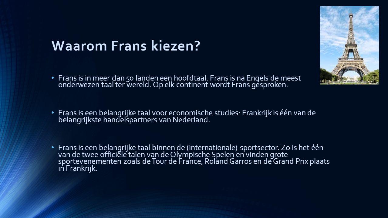 Waarom Frans kiezen. Frans is in meer dan 50 landen een hoofdtaal.