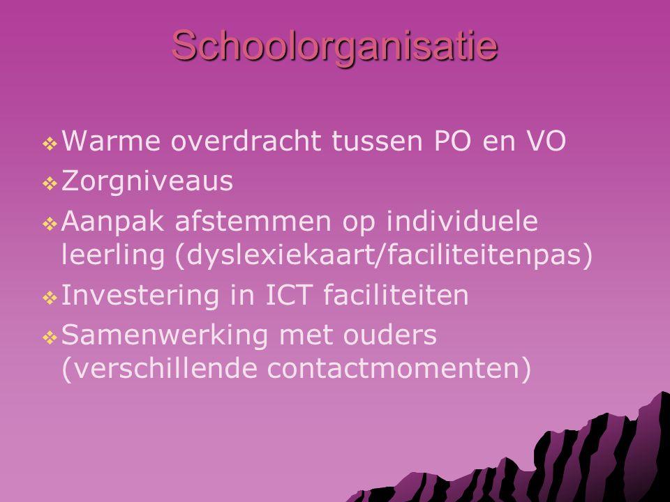 Schoolorganisatie   Warme overdracht tussen PO en VO   Zorgniveaus   Aanpak afstemmen op individuele leerling (dyslexiekaart/faciliteitenpas)   Investering in ICT faciliteiten   Samenwerking met ouders (verschillende contactmomenten)
