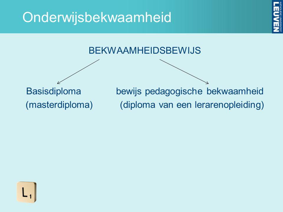 Onderwijsbekwaamheid BEKWAAMHEIDSBEWIJS Basisdiploma bewijs pedagogische bekwaamheid (masterdiploma) (diploma van een lerarenopleiding)