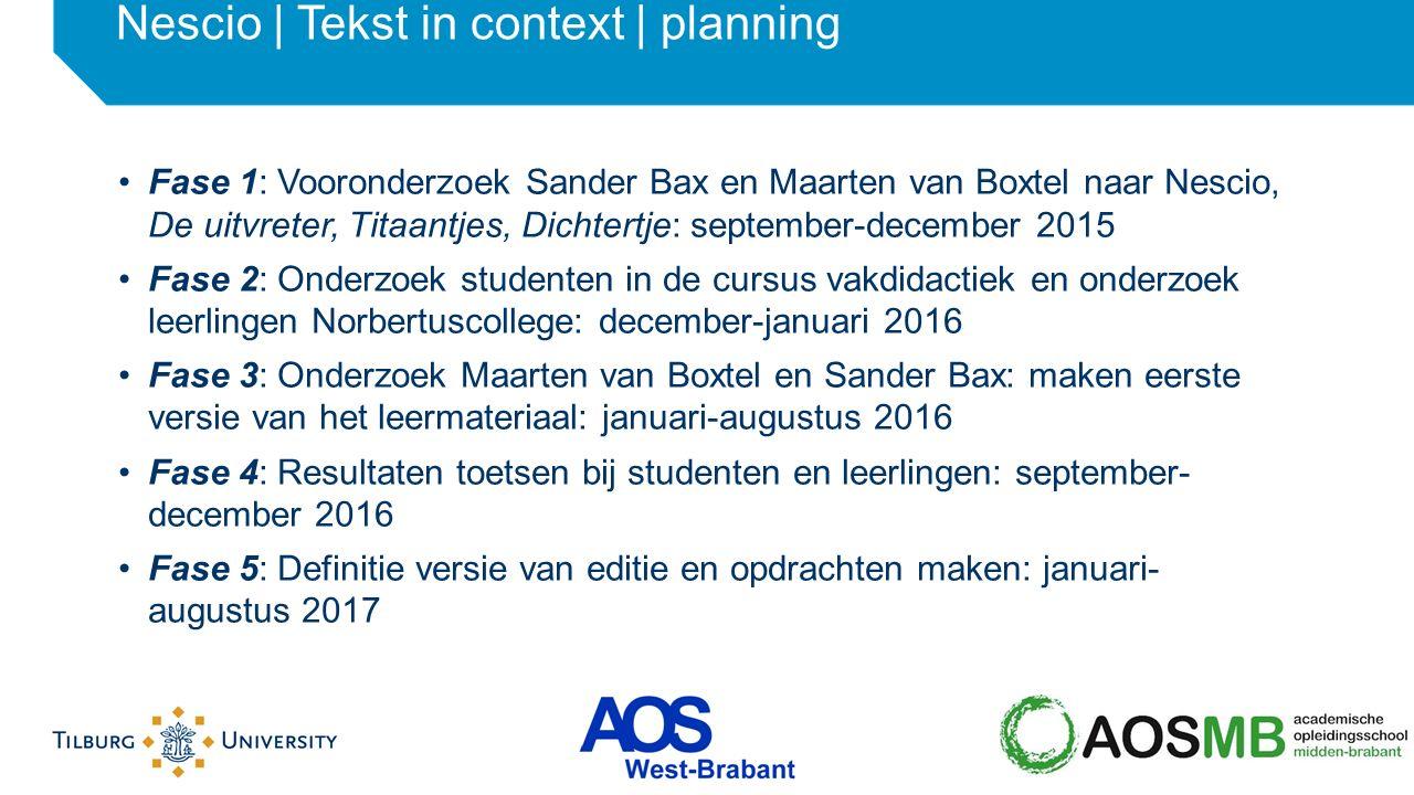 Fase 1: Vooronderzoek Sander Bax en Maarten van Boxtel naar Nescio, De uitvreter, Titaantjes, Dichtertje: september-december 2015 Fase 2: Onderzoek st