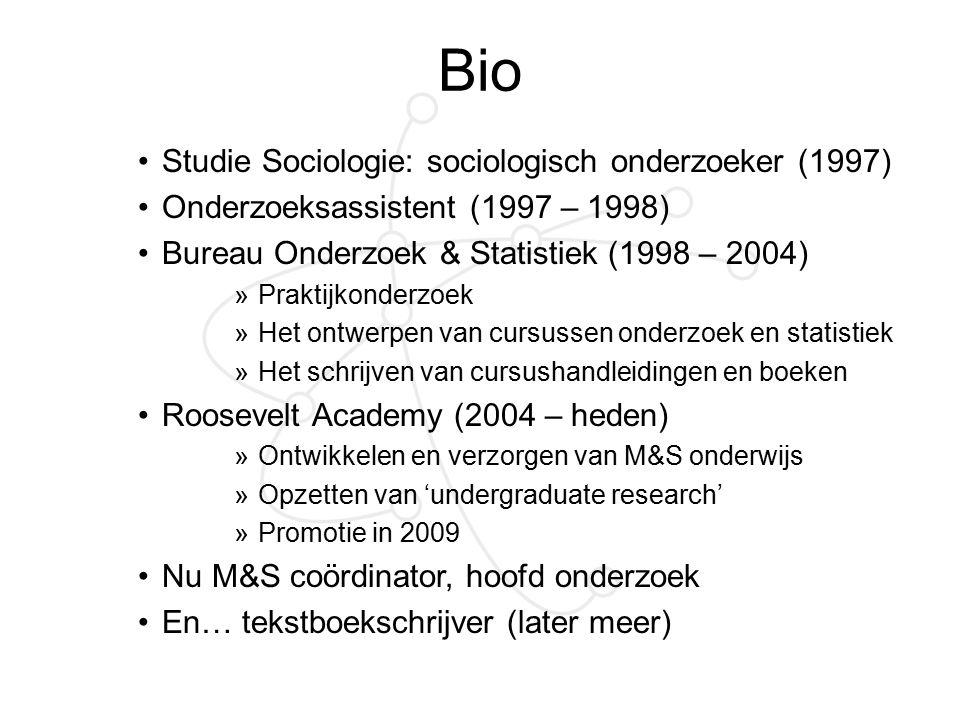 Bio Studie Sociologie: sociologisch onderzoeker (1997) Onderzoeksassistent (1997 – 1998) Bureau Onderzoek & Statistiek (1998 – 2004) »Praktijkonderzoe