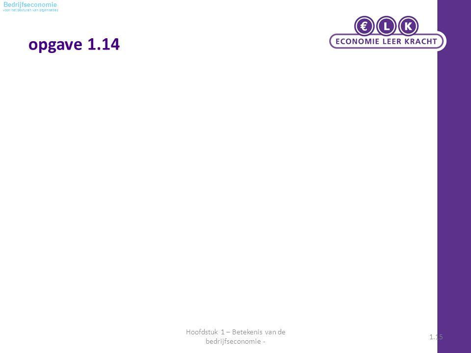 voor het besturen van organisaties Bedrijfseconomie opgave 1.14 Hoofdstuk 1 – Betekenis van de bedrijfseconomie - 1.15