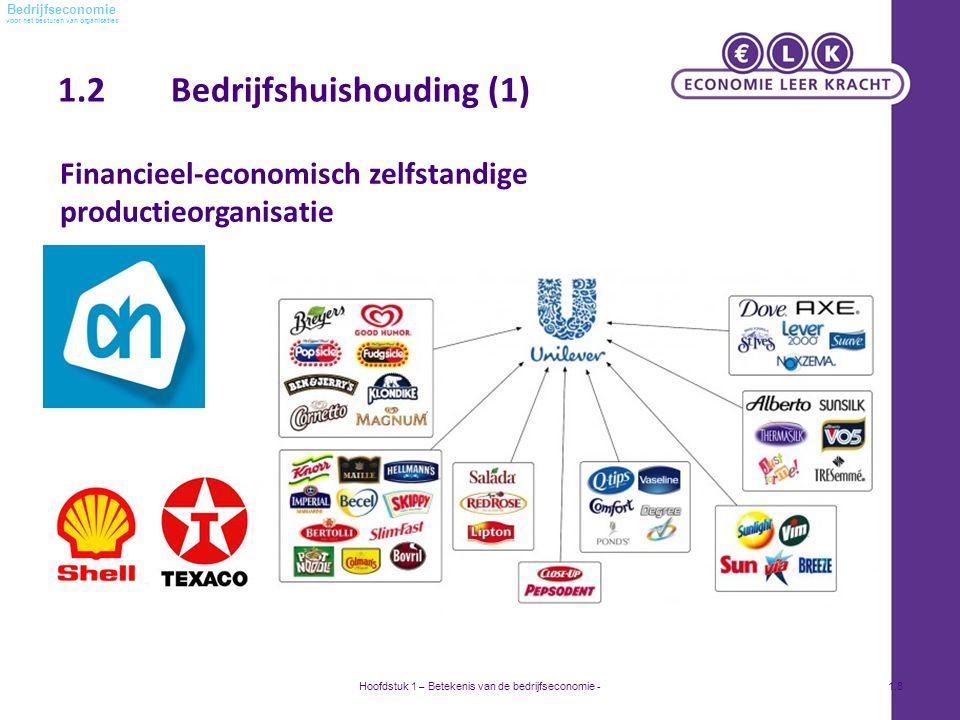 voor het besturen van organisaties Bedrijfseconomie 1.2 Bedrijfshuishouding (1) Hoofdstuk 1 – Betekenis van de bedrijfseconomie -1.8 Financieel-economisch zelfstandige productieorganisatie