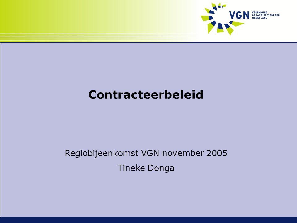 Contracteerbeleid Regiobijeenkomst VGN november 2005 Tineke Donga