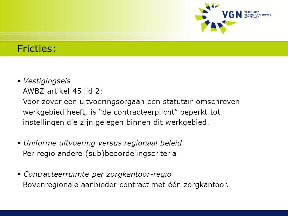 """Fricties:  Vestigingseis AWBZ artikel 45 lid 2: Voor zover een uitvoeringsorgaan een statutair omschreven werkgebied heeft, is """"de contracteerplicht"""""""