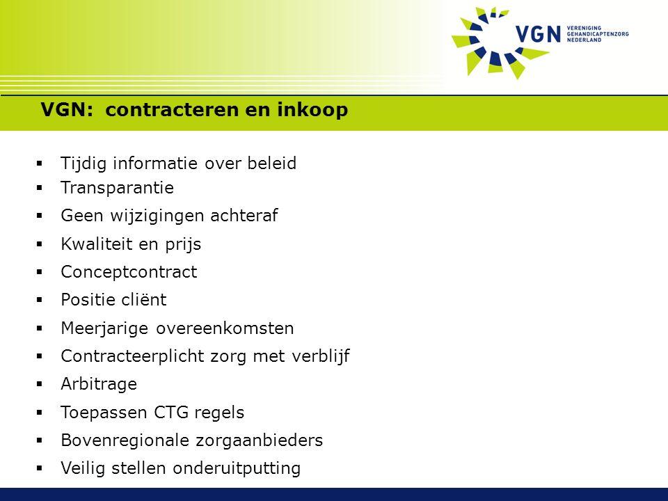 VGN: contracteren en inkoop  Tijdig informatie over beleid  Transparantie  Geen wijzigingen achteraf  Kwaliteit en prijs  Conceptcontract  Posit