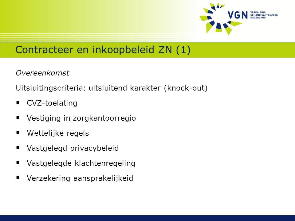 Contracteer en inkoopbeleid ZN (1) Overeenkomst Uitsluitingscriteria: uitsluitend karakter (knock-out)  CVZ-toelating  Vestiging in zorgkantoorregio