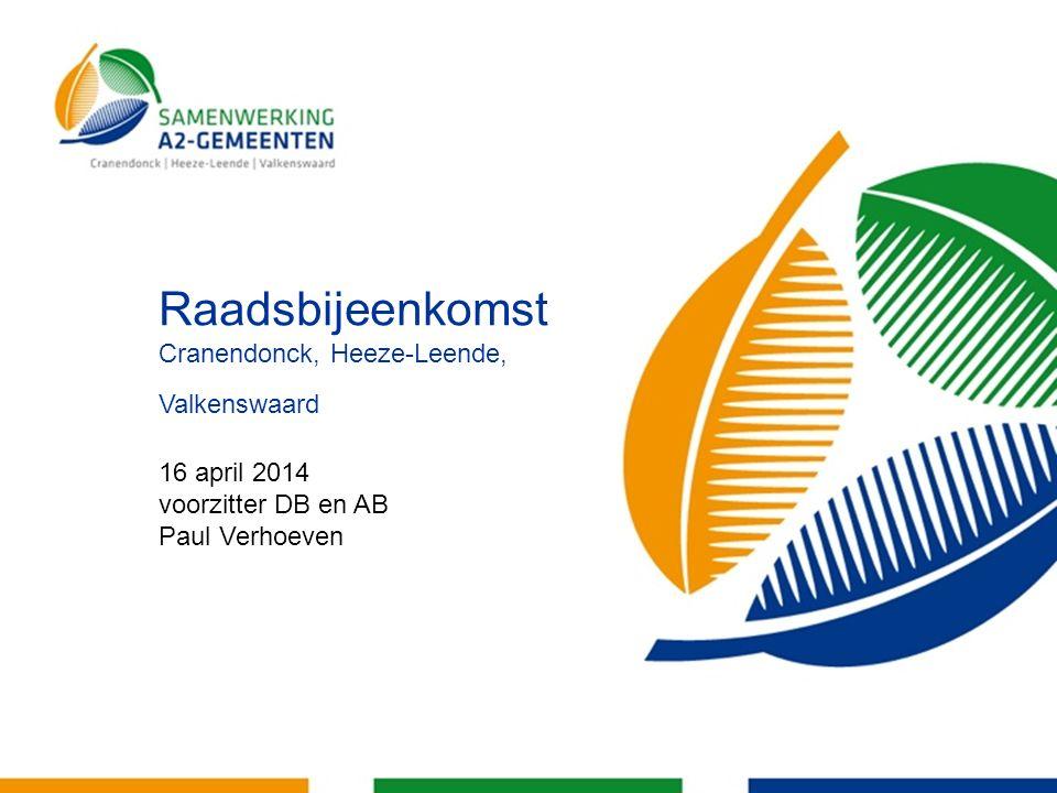 Raadsbijeenkomst Cranendonck, Heeze-Leende, Valkenswaard 16 april 2014 voorzitter DB en AB Paul Verhoeven