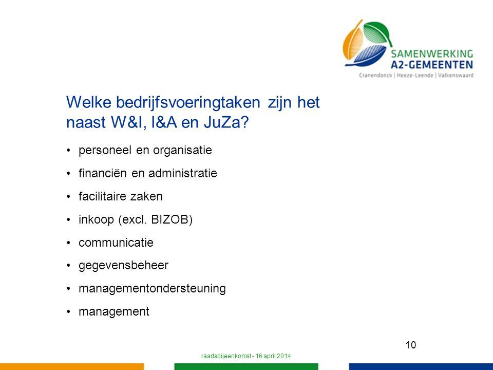 10 Welke bedrijfsvoeringtaken zijn het naast W&I, I&A en JuZa.