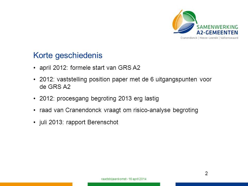 2 Korte geschiedenis april 2012: formele start van GRS A2 2012: vaststelling position paper met de 6 uitgangspunten voor de GRS A2 2012: procesgang begroting 2013 erg lastig raad van Cranendonck vraagt om risico-analyse begroting juli 2013: rapport Berenschot raadsbijeenkomst - 16 april 2014