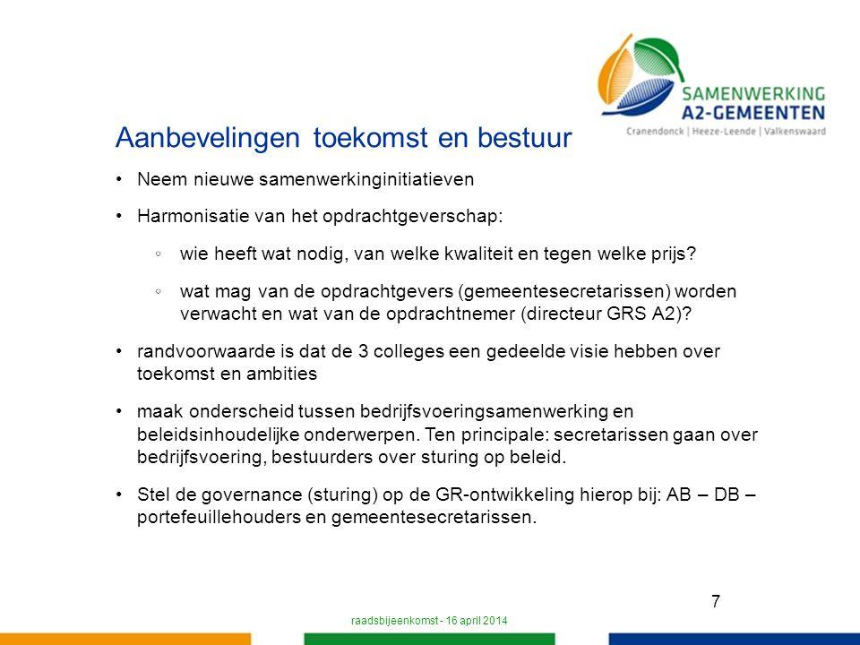 7 Aanbevelingen toekomst en bestuur Neem nieuwe samenwerkinginitiatieven Harmonisatie van het opdrachtgeverschap: ◦wie heeft wat nodig, van welke kwaliteit en tegen welke prijs.