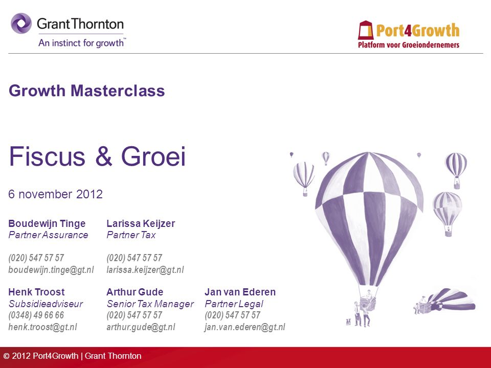 © 2012 Port4Growth | Grant Thornton Growth Masterclass Fiscus & Groei 6 november 2012 Boudewijn TingeLarissa Keijzer Partner AssurancePartner Tax (020