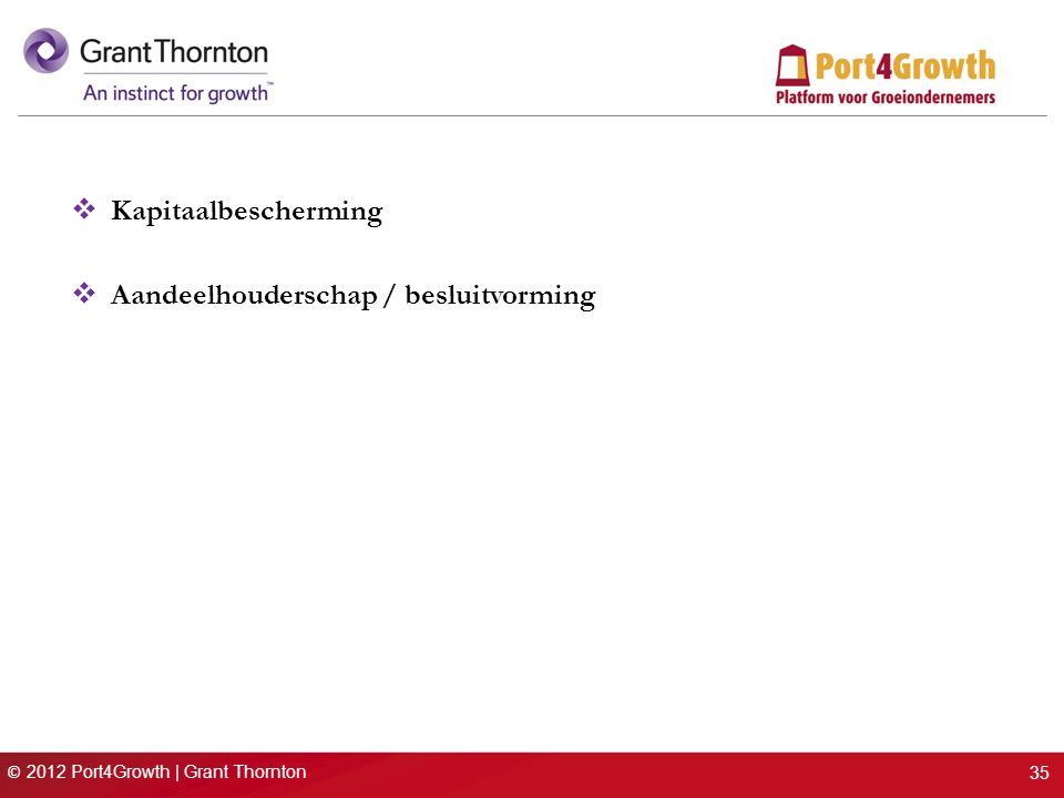 © 2012 Port4Growth | Grant Thornton  Kapitaalbescherming  Aandeelhouderschap / besluitvorming 35