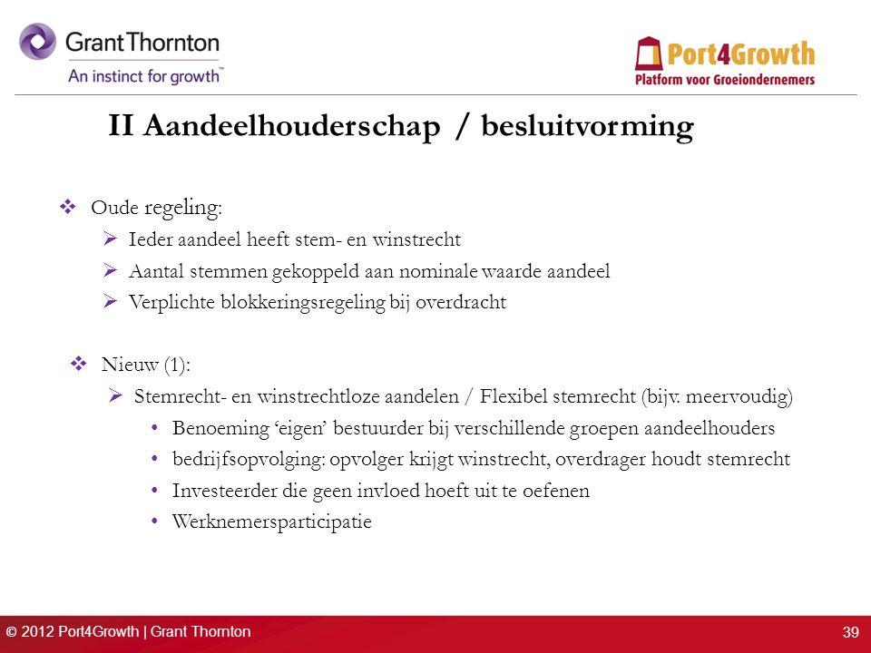 © 2012 Port4Growth | Grant Thornton II Aandeelhouderschap / besluitvorming  Oude regeling :  Ieder aandeel heeft stem- en winstrecht  Aantal stemme