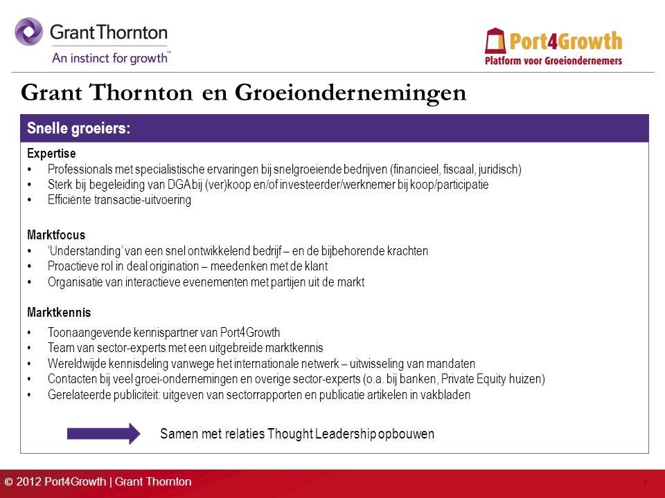 © 2012 Port4Growth | Grant Thornton 7 Grant Thornton en Groeiondernemingen Snelle groeiers: Expertise Professionals met specialistische ervaringen bij snelgroeiende bedrijven (financieel, fiscaal, juridisch) Sterk bij begeleiding van DGA bij (ver)koop en/of investeerder/werknemer bij koop/participatie Efficiënte transactie-uitvoering Marktfocus 'Understanding' van een snel ontwikkelend bedrijf – en de bijbehorende krachten Proactieve rol in deal origination – meedenken met de klant Organisatie van interactieve evenementen met partijen uit de markt Marktkennis Toonaangevende kennispartner van Port4Growth Team van sector-experts met een uitgebreide marktkennis Wereldwijde kennisdeling vanwege het internationale netwerk – uitwisseling van mandaten Contacten bij veel groei-ondernemingen en overige sector-experts (o.a.