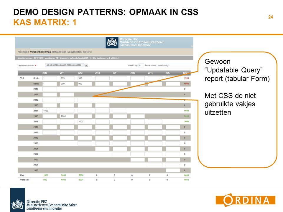 DEMO DESIGN PATTERNS: OPMAAK IN CSS KAS MATRIX: 1 24 Gewoon Updatable Query report (tabular Form) Met CSS de niet gebruikte vakjes uitzetten