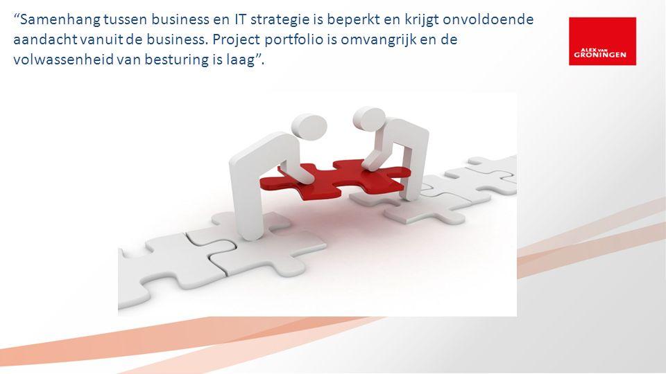 """""""Samenhang tussen business en IT strategie is beperkt en krijgt onvoldoende aandacht vanuit de business. Project portfolio is omvangrijk en de volwass"""