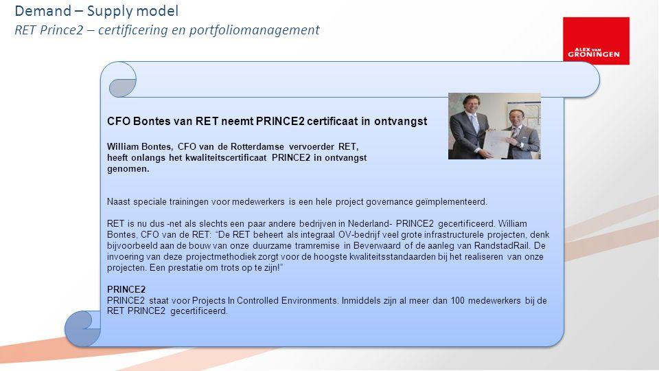 Demand – Supply model RET Prince2 – certificering en portfoliomanagement CFO Bontes van RET neemt PRINCE2 certificaat in ontvangst William Bontes, CFO van de Rotterdamse vervoerder RET, heeft onlangs het kwaliteitscertificaat PRINCE2 in ontvangst genomen.