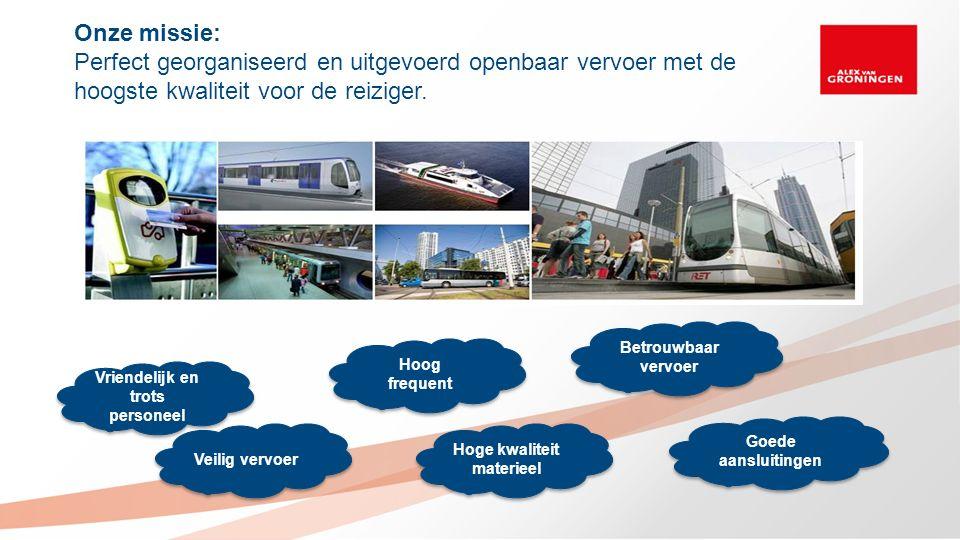 Hoog frequent Betrouwbaar vervoer Veilig vervoer Hoge kwaliteit materieel Vriendelijk en trots personeel Goede aansluitingen Onze missie: Perfect geor