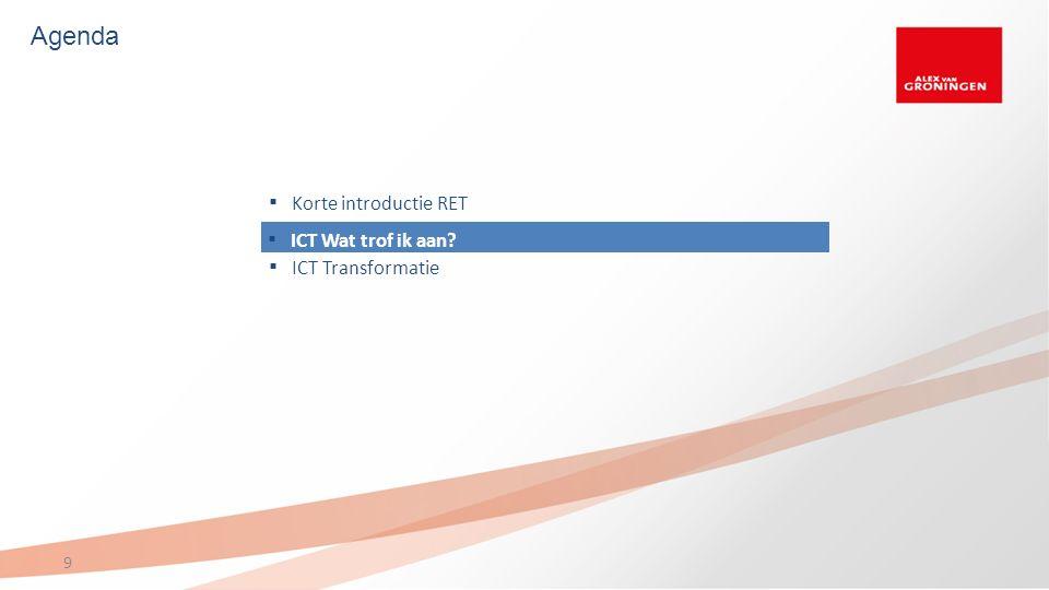 Agenda 9 ▪ ICT Wat trof ik aan? ▪ Korte introductie RET Korte introductie RET ▪ ICT Transformatie ICT Transformatie