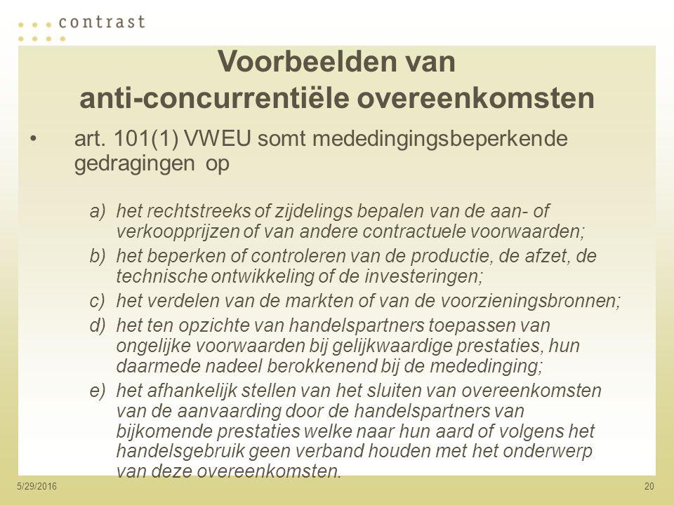 205/29/2016 Voorbeelden van anti-concurrentiële overeenkomsten art.