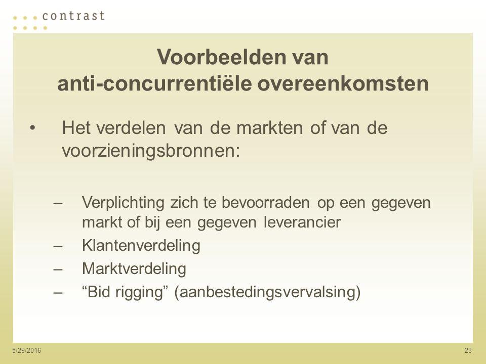 235/29/2016 Voorbeelden van anti-concurrentiële overeenkomsten Het verdelen van de markten of van de voorzieningsbronnen: –Verplichting zich te bevoorraden op een gegeven markt of bij een gegeven leverancier –Klantenverdeling –Marktverdeling – Bid rigging (aanbestedingsvervalsing)