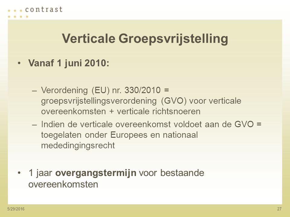 275/29/2016 Verticale Groepsvrijstelling Vanaf 1 juni 2010: –Verordening (EU) nr.