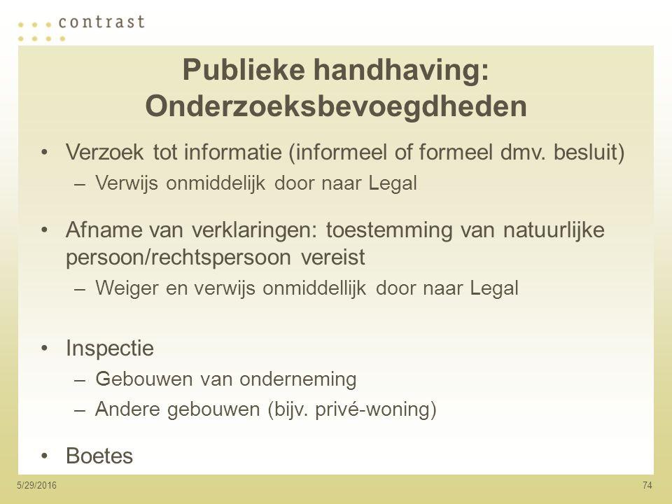 745/29/2016 Publieke handhaving: Onderzoeksbevoegdheden Verzoek tot informatie (informeel of formeel dmv.