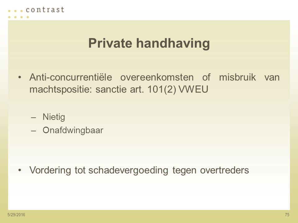 755/29/2016 Private handhaving Anti-concurrentiële overeenkomsten of misbruik van machtspositie: sanctie art.