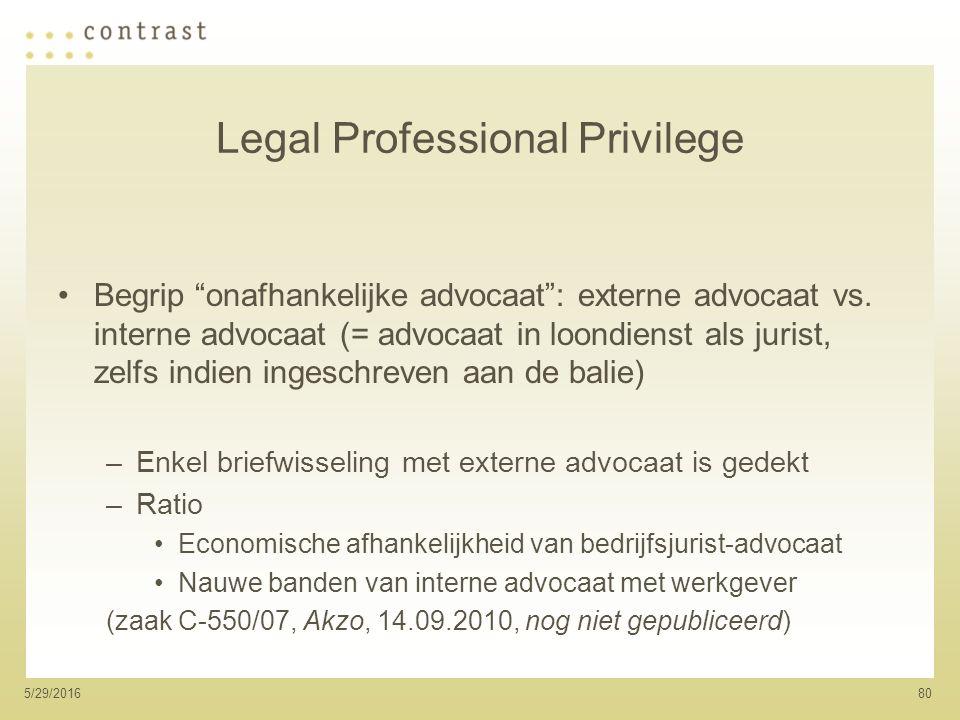 805/29/2016 Legal Professional Privilege Begrip onafhankelijke advocaat : externe advocaat vs.