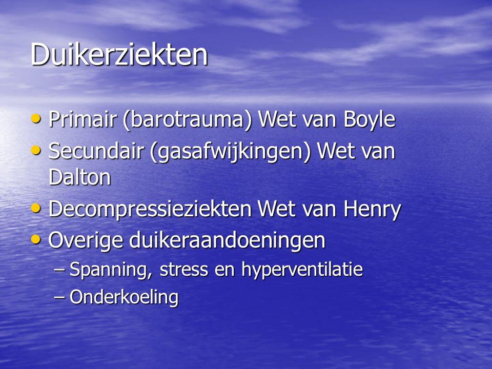 Duikerziekten Primair (barotrauma) Wet van Boyle Primair (barotrauma) Wet van Boyle Secundair (gasafwijkingen) Wet van Dalton Secundair (gasafwijkingen) Wet van Dalton Decompressieziekten Wet van Henry Decompressieziekten Wet van Henry Overige duikeraandoeningen Overige duikeraandoeningen –Spanning, stress en hyperventilatie –Onderkoeling