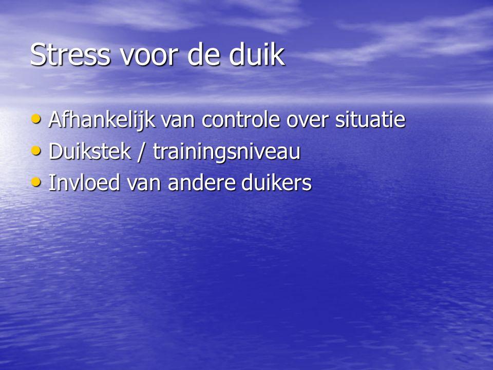 Stress voor de duik Afhankelijk van controle over situatie Afhankelijk van controle over situatie Duikstek / trainingsniveau Duikstek / trainingsniveau Invloed van andere duikers Invloed van andere duikers