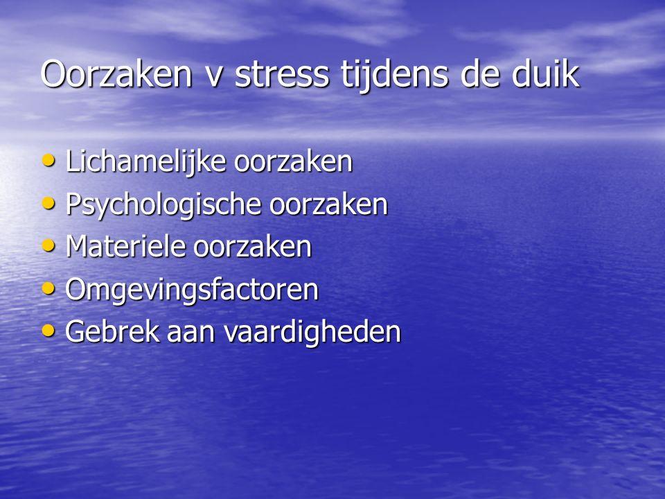 Oorzaken v stress tijdens de duik Lichamelijke oorzaken Lichamelijke oorzaken Psychologische oorzaken Psychologische oorzaken Materiele oorzaken Materiele oorzaken Omgevingsfactoren Omgevingsfactoren Gebrek aan vaardigheden Gebrek aan vaardigheden