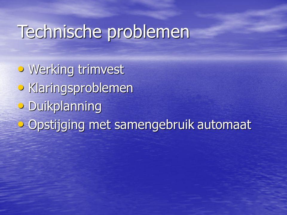Technische problemen Werking trimvest Werking trimvest Klaringsproblemen Klaringsproblemen Duikplanning Duikplanning Opstijging met samengebruik automaat Opstijging met samengebruik automaat