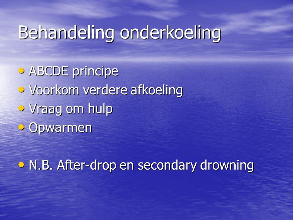 Behandeling onderkoeling ABCDE principe ABCDE principe Voorkom verdere afkoeling Voorkom verdere afkoeling Vraag om hulp Vraag om hulp Opwarmen Opwarmen N.B.