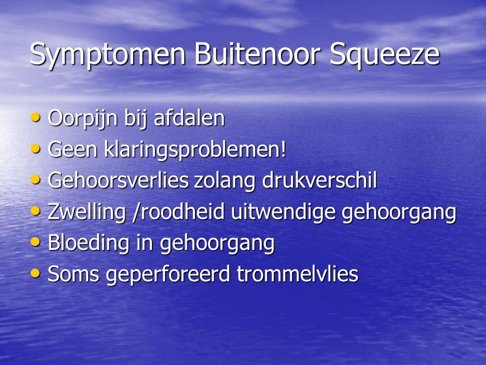 Symptomen Buitenoor Squeeze Oorpijn bij afdalen Oorpijn bij afdalen Geen klaringsproblemen.