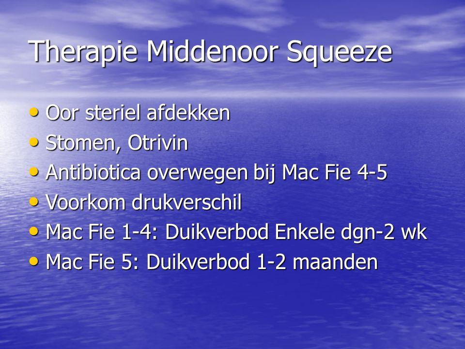 Therapie Middenoor Squeeze Oor steriel afdekken Oor steriel afdekken Stomen, Otrivin Stomen, Otrivin Antibiotica overwegen bij Mac Fie 4-5 Antibiotica overwegen bij Mac Fie 4-5 Voorkom drukverschil Voorkom drukverschil Mac Fie 1-4: Duikverbod Enkele dgn-2 wk Mac Fie 1-4: Duikverbod Enkele dgn-2 wk Mac Fie 5: Duikverbod 1-2 maanden Mac Fie 5: Duikverbod 1-2 maanden