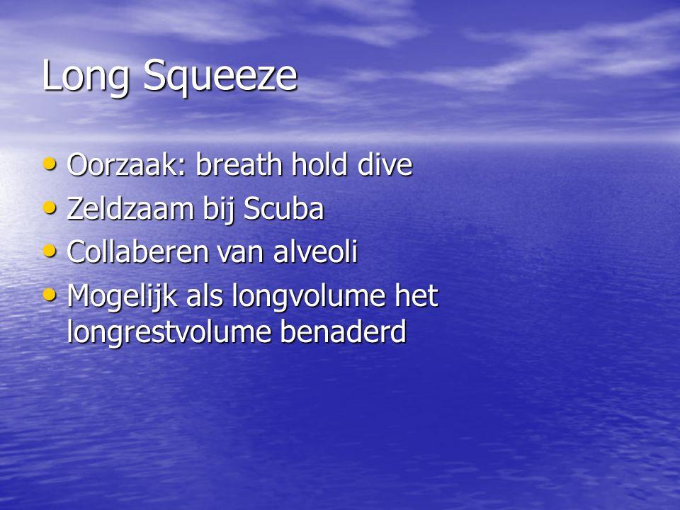 Long Squeeze Oorzaak: breath hold dive Oorzaak: breath hold dive Zeldzaam bij Scuba Zeldzaam bij Scuba Collaberen van alveoli Collaberen van alveoli Mogelijk als longvolume het longrestvolume benaderd Mogelijk als longvolume het longrestvolume benaderd
