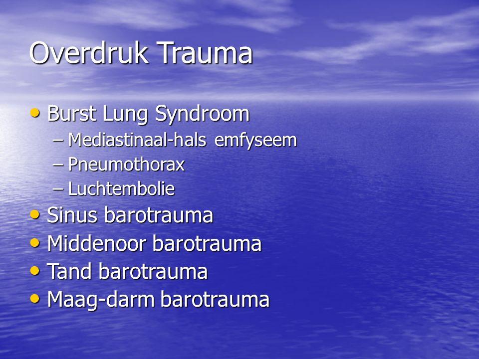 Overdruk Trauma Burst Lung Syndroom Burst Lung Syndroom –Mediastinaal-hals emfyseem –Pneumothorax –Luchtembolie Sinus barotrauma Sinus barotrauma Middenoor barotrauma Middenoor barotrauma Tand barotrauma Tand barotrauma Maag-darm barotrauma Maag-darm barotrauma