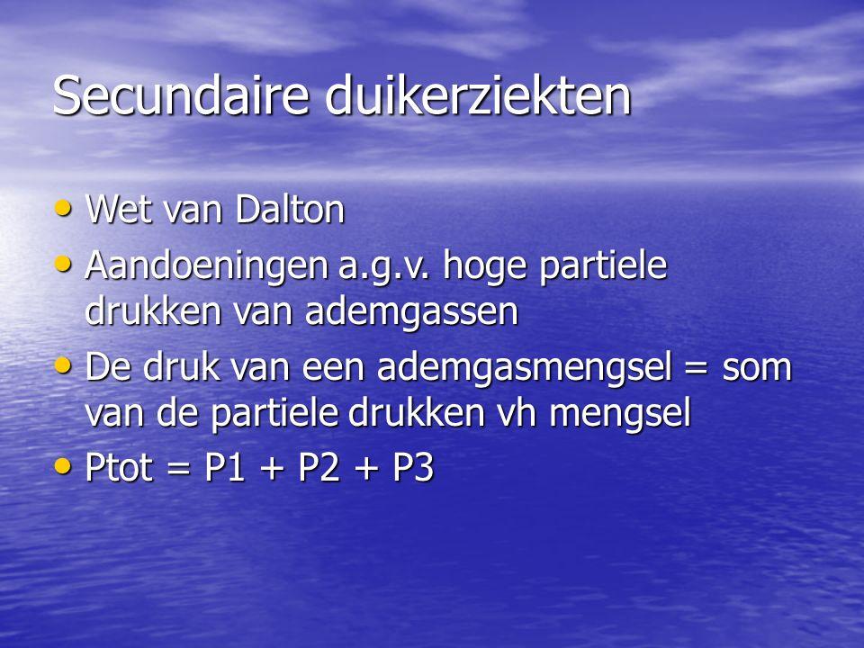 Secundaire duikerziekten Wet van Dalton Wet van Dalton Aandoeningen a.g.v.