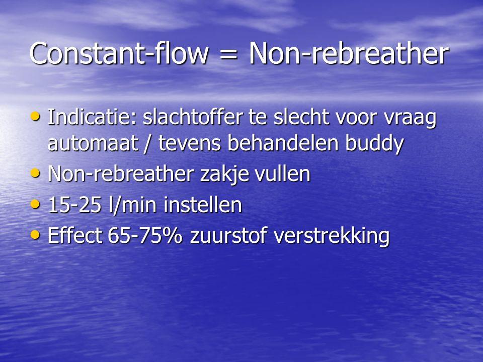 Symptomen hypoxie Voor anderen Concentratieverlies Concentratieverlies Verminderd prestatie vermogen Verminderd prestatie vermogen Versnelde ademhaling Versnelde ademhaling Bewusteloosheid Bewusteloosheid Adem- /hartstilstand Adem- /hartstilstand Blauwkleuring (perifeer/centraal) Blauwkleuring (perifeer/centraal)