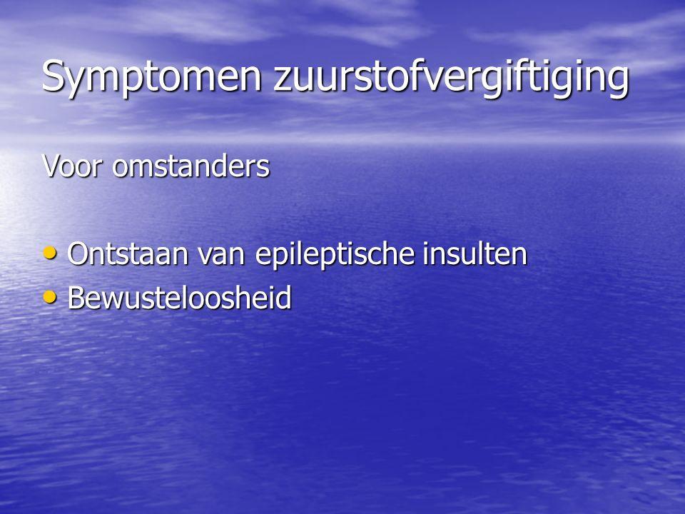 Symptomen zuurstofvergiftiging Voor omstanders Ontstaan van epileptische insulten Ontstaan van epileptische insulten Bewusteloosheid Bewusteloosheid