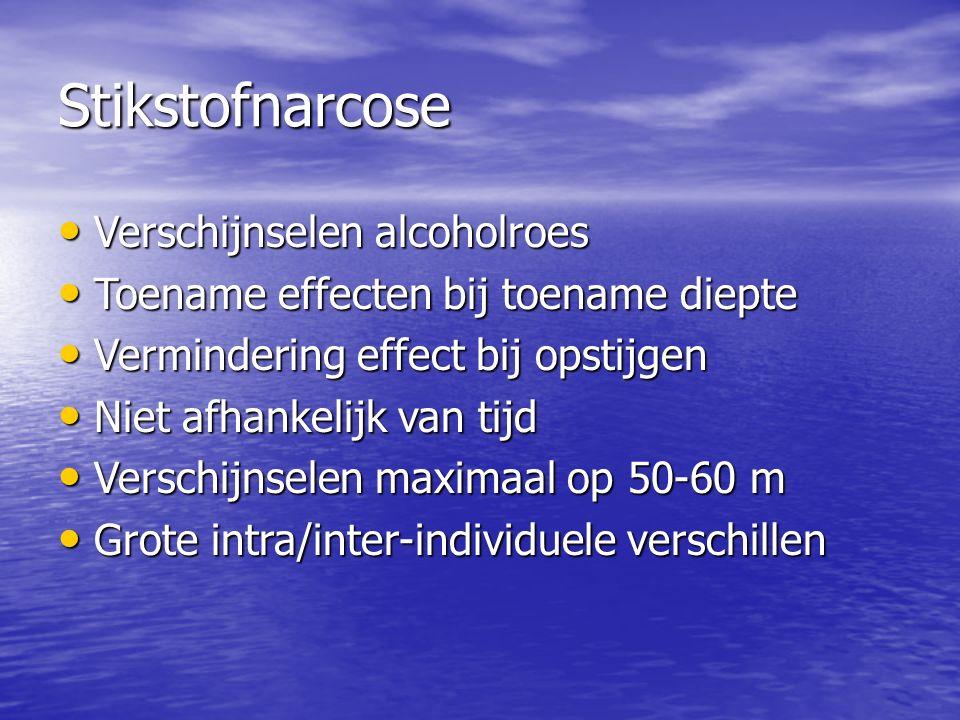 Stikstofnarcose Verschijnselen alcoholroes Verschijnselen alcoholroes Toename effecten bij toename diepte Toename effecten bij toename diepte Vermindering effect bij opstijgen Vermindering effect bij opstijgen Niet afhankelijk van tijd Niet afhankelijk van tijd Verschijnselen maximaal op 50-60 m Verschijnselen maximaal op 50-60 m Grote intra/inter-individuele verschillen Grote intra/inter-individuele verschillen