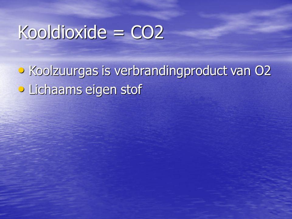Kooldioxide = CO2 Koolzuurgas is verbrandingproduct van O2 Koolzuurgas is verbrandingproduct van O2 Lichaams eigen stof Lichaams eigen stof