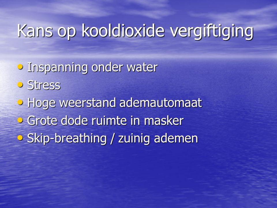 Kans op kooldioxide vergiftiging Inspanning onder water Inspanning onder water Stress Stress Hoge weerstand ademautomaat Hoge weerstand ademautomaat Grote dode ruimte in masker Grote dode ruimte in masker Skip-breathing / zuinig ademen Skip-breathing / zuinig ademen