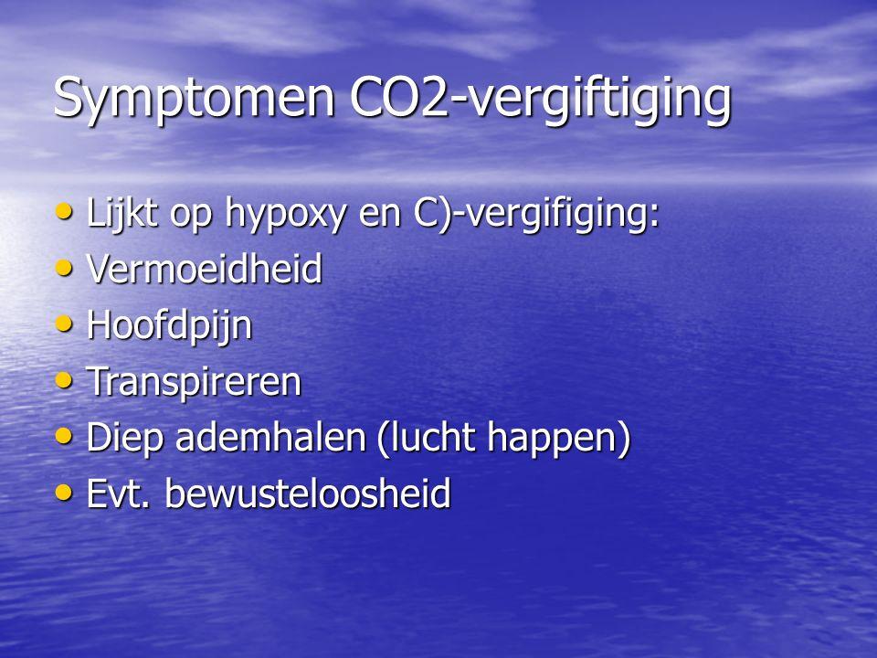 Symptomen CO2-vergiftiging Lijkt op hypoxy en C)-vergifiging: Lijkt op hypoxy en C)-vergifiging: Vermoeidheid Vermoeidheid Hoofdpijn Hoofdpijn Transpireren Transpireren Diep ademhalen (lucht happen) Diep ademhalen (lucht happen) Evt.
